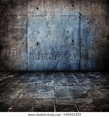 Dark old and worn concrete floor and wall. - stock photo