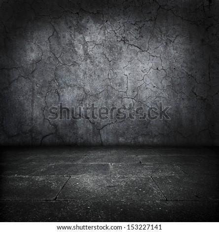 Dark old stone room. - stock photo