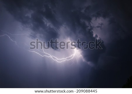 Dark ominous clouds. Thunderstorm with lightning. - stock photo