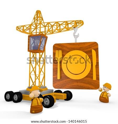 Dark orange  childish tower crane 3d graphic with cute restaurant symbol with a crane - stock photo