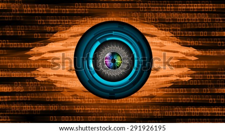 dark orange illustration of technology internet network computer background with binary number, style background. infographics. Information. motion blur. pixel. text box. eye. arrow - stock photo