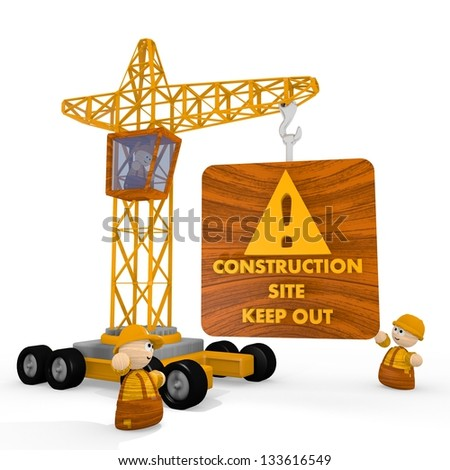 Dark orange  keep out construction site 3d graphic with dangerous construction site icon with a crane - stock photo