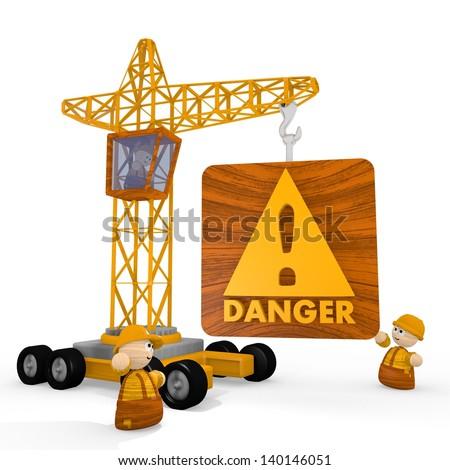 Dark orange  risky tower crane 3d graphic with childish Danger symbol with a crane - stock photo