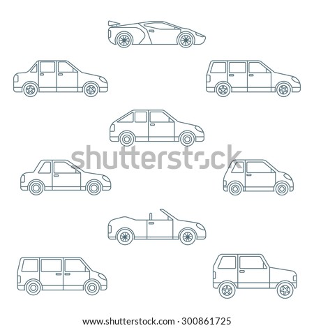 dark outline body types cars classification icons set sedan saloon hatchback station wagon coupe cabriolet microcar compact supercar sportcar off-road crossover minivan camper minibus  - stock photo