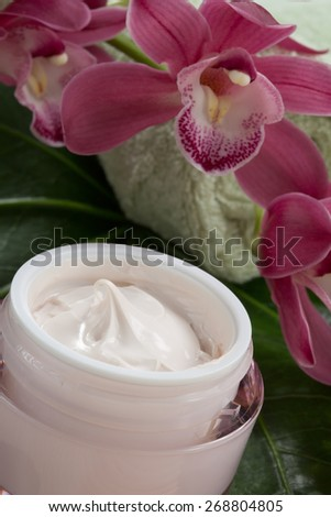 Dark pink blooming Cymbidium orchid flowers and moisturizing face cream for everyday.  - stock photo