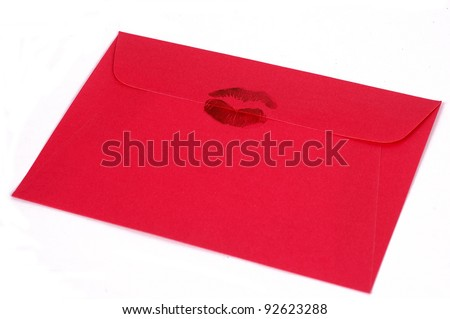 Dark pink envelope with kiss - stock photo