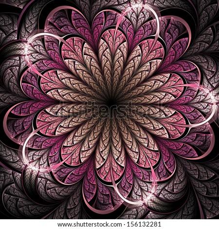 Dark pink fractal flower, digital artwork for creative graphic design - stock photo