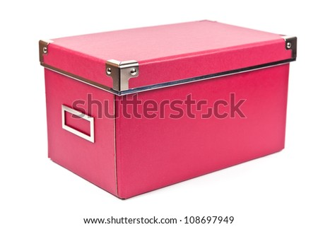Dark pink paper box with closed cover on white background