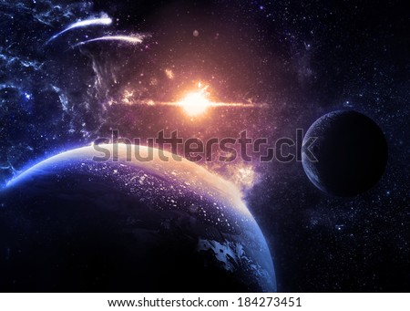Dark Planet and Moon Over a glowing Star - Elements of this image furnished by NASA  - stock photo