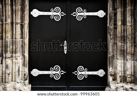 Dark portal with decorative ironwork fittings