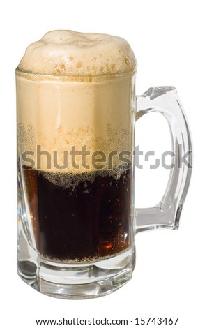 Dark porter beer with froth head, isolated, clipping path