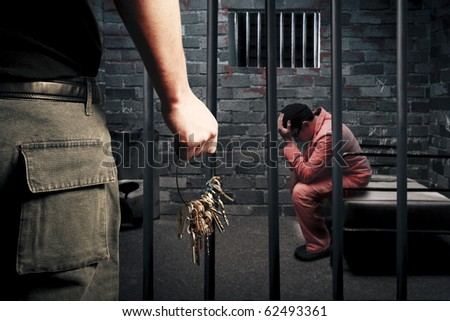 dark prison cell at night - stock photo