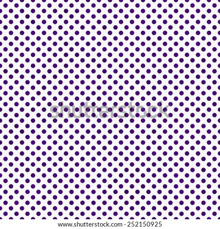 Dark Purple and White Small Polka Dots Pattern Repeat Background that is seamless and repeats - stock photo