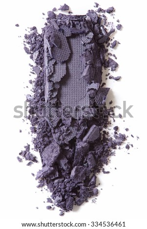 Dark purple eye shadow crushed isolated on white background - stock photo