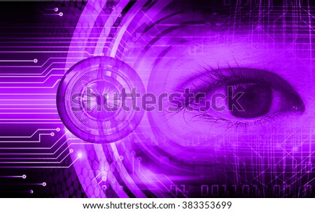 dark purple illustration of technology internet network computer background with binary number, style background. infographics. Information. motion blur. pixel. Binary digit. number eye - stock photo