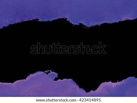 dark purple watercolor background, purple on black, design element - stock photo