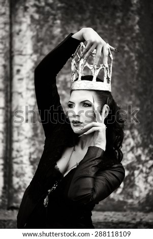 Dark queen from the fairytale. - stock photo