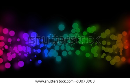 Dark rainbow bokeh background illustration. These also look like bubbles.
