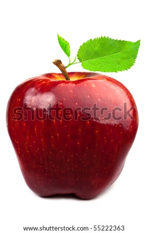 Dark-red apple. Isolated on white background.