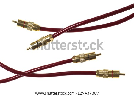 Dark red audio cables isolated on white background - stock photo