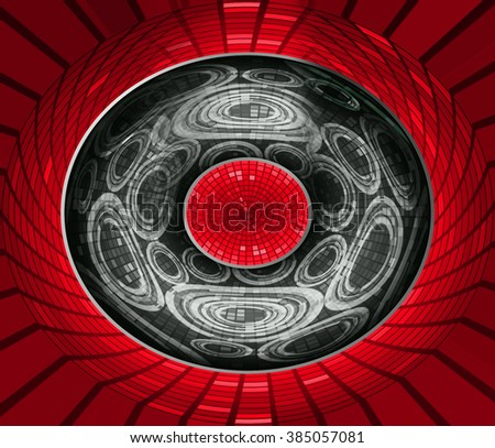 dark red black Circle wave illustration of technology internet network computer background with binary, style. infographics. Information. motion blur. pixel. Binary digit. number. web wabsite tech