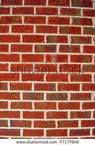 Dark red brick wall background - stock photo