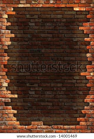 Dark red brick wall grungy background texture - stock photo