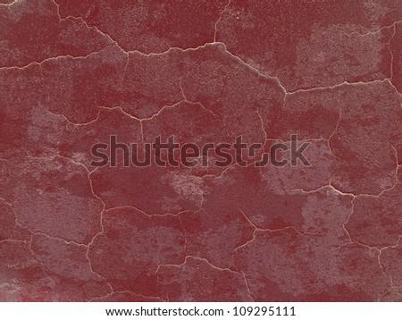 Dark red cracked grunge wall background - stock photo