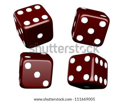 Dark red dice and different angles on isolated white background.