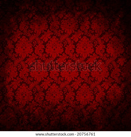 Dark red grungy vintage wallpaper - stock photo