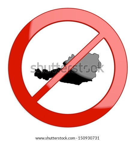 Dark red  isolated map 3d graphic with restricted Austria sign not allowed - stock photo