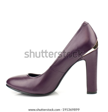 Dark red  leather  high heel women shoe isolated on white background.Please, look for more photos like this in my sets.