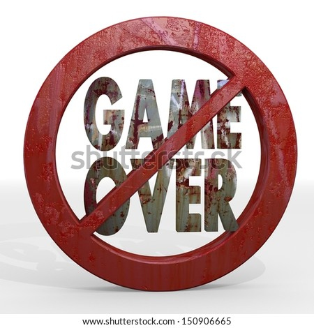 Dark red  restricted warning 3d graphic with forbidden game over sign not allowed