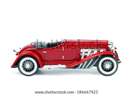 dark red retro car isolated on white background - stock photo