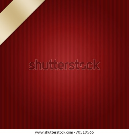 dark red stripes background with elegant gold ribbon layout design for Christmas or valentine's day - stock photo