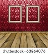 dark red vintage interior with empty vintage frames hanging on the wall - stock photo