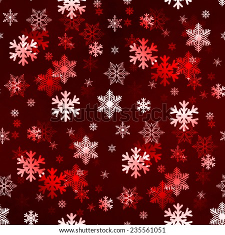 Dark red winter Christmas snowflakes with a seamless pattern as background image. - stock photo