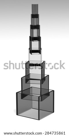 Dark reflection pyramid - stock photo