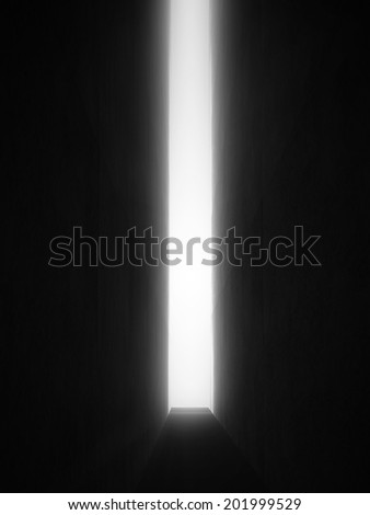 Dark room and light to exit - stock photo
