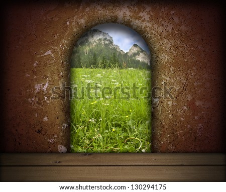 dark room entrance and landscape view - stock photo