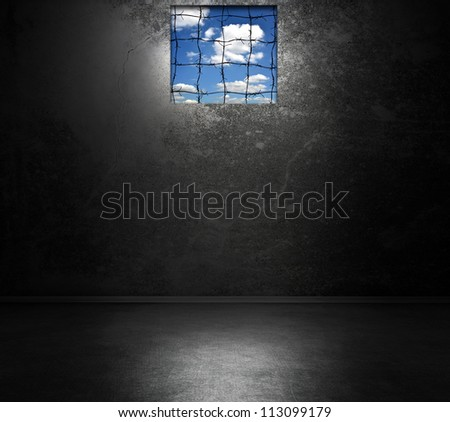 Dark room interior with window - stock photo
