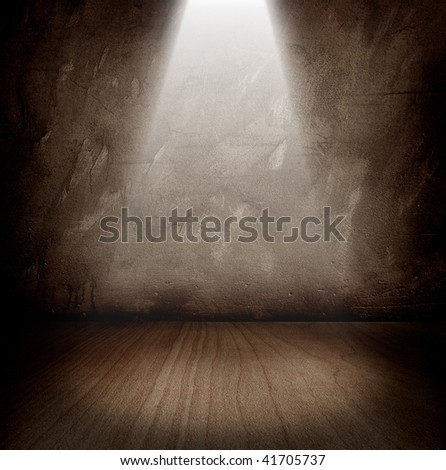 dark room with a beam of light - stock photo