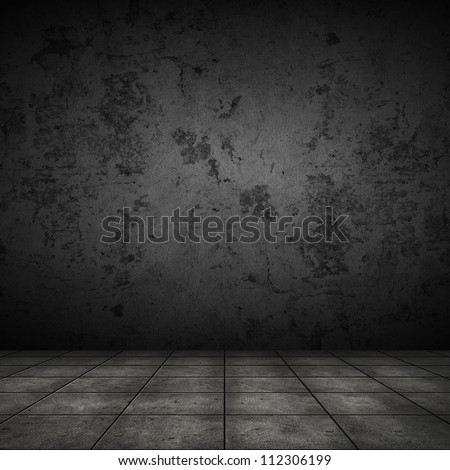 Dark room with tile floor and black wall background - stock photo