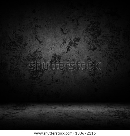 Dark room with tile floor and wall background - stock photo