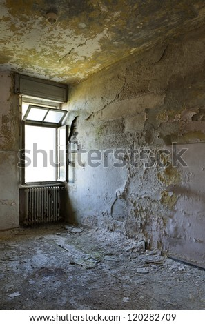 dark room with window, interior - stock photo