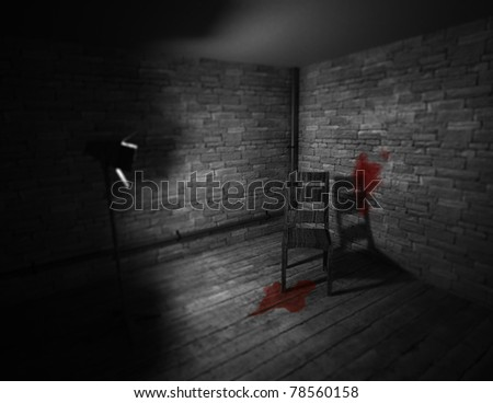 Dark room with wooden chair in the middle. One spot light and blood on the floor and wall. - stock photo