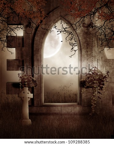 Dark ruins with vines, plants and tree branches