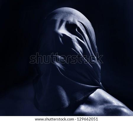 dark scary portrait suffocate - stock photo