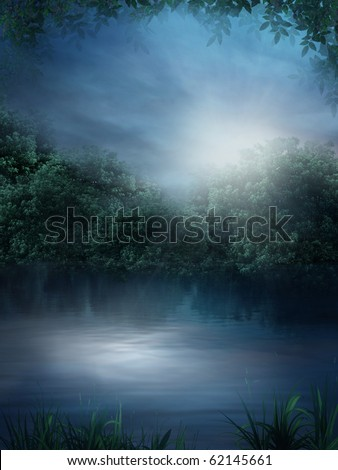 Dark scenery with a lake and vines - stock photo