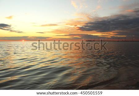 Dark sea sunset, Frankston beach, Victoria, Australia - stock photo
